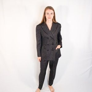 VINTAGE SEARLE BLATT Silver Metallic Stripe Suit 8